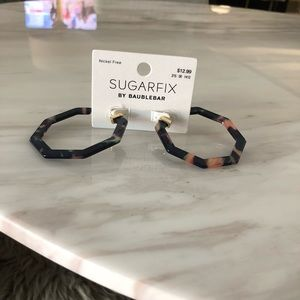 NWT Suagrfix tortoise hoop earrings